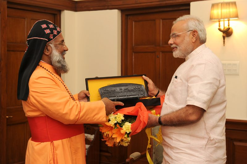 The President of the Catholic Bishops' Conference of India, Baselios Cleemis Cardinal Thottunkal calls on the Prime Minister, Shri Narendra Modi, in New Delhi on August 18, 2014.