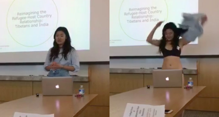 student strips down to her underwear while presenting thesis
